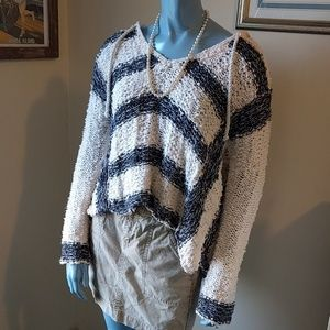 Nautical Free People Crocheted Sweater